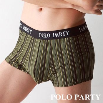 【POLO PARTY】 鍺纖維男性四角條紋內褲-土黃色