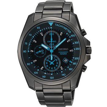 SEIKO 特務保鏢三眼計時腕錶-IP黑 7T92-0NK0SD