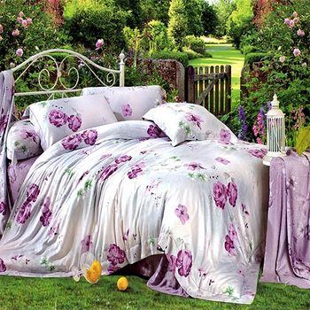 【KOSNEY】紫花情懷100%天絲特大四件式兩用被床包組