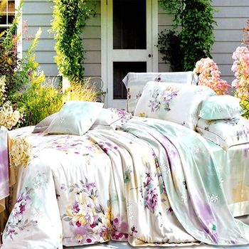 【KOSNEY】珍珠戀情100%天絲特大四件式兩用被床包組