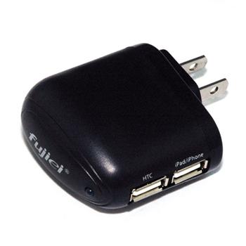 Fujiei極速2埠5V 2.5A USB轉家用插座電源充電器