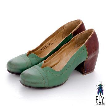 Fly London(女)★領子 圓頭雙色粗跟高跟鞋 - 湖水綠