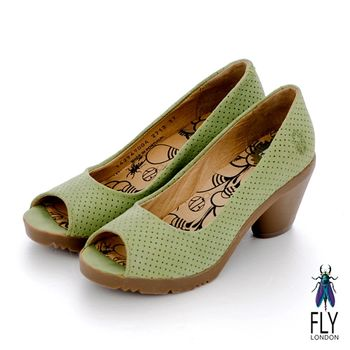 Fly London(女)★精靈 小羊皮魚口粗跟高跟鞋 - 春水綠
