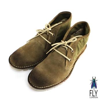 Fly London(男)★沙漠旅途 反毛皮與布面中筒休閒靴