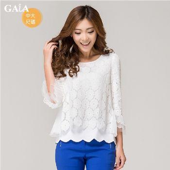 【GAIA】韓版修身雪紡蕾絲七分袖上衣