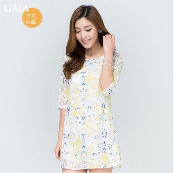【GAIA】甜美蕾絲印花鏤空五分袖洋裝