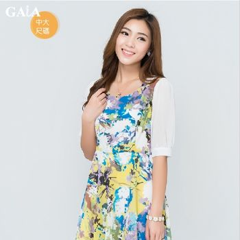 【GAIA】復古雪紡印花修身五分袖洋裝