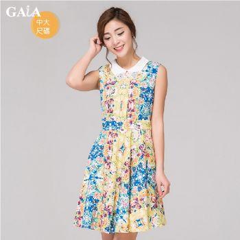 【GAIA】韓版撞色小翻領印花無袖洋裝