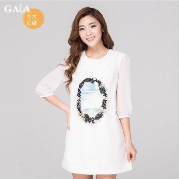 【GAIA】寬松刺繡印花七分袖雪紡洋裝