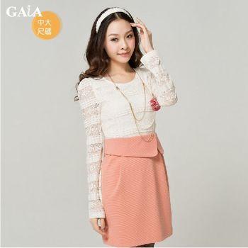 【GAIA】甜美公主蕾絲拼接假兩件式洋裝