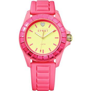 Juicy Couture馬卡龍晶鑽心錶-黃x粉紅J1901113