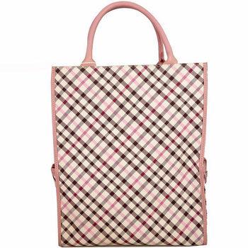 DAKS 經典格紋兩側口袋手提包-粉紅