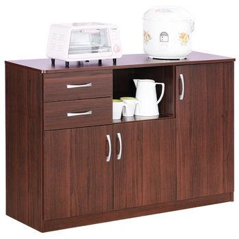 【Hopma】胡桃木色三門二抽五格廚房櫃