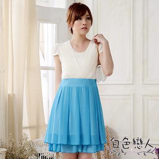 【白色戀人中大尺碼】藍色圓領壓褶拼色雪紡連衣裙JK-0015