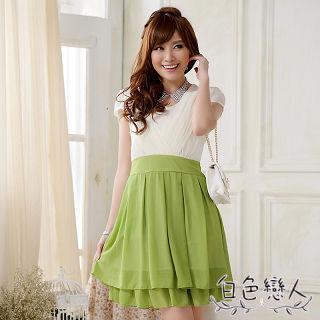 【白色戀人中大尺碼】綠色圓領壓褶拼色雪紡連衣裙JK-0015