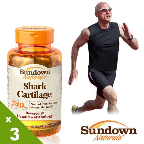 【美國Sundown日落恩賜】天然純化鯊魚軟骨素膠囊x3瓶組(100粒/瓶)