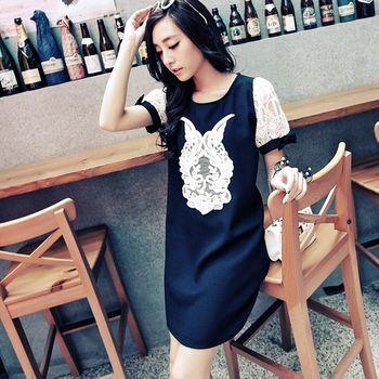 【I-Seoul正韓中大碼】9230正韓設計花布拼接小洋裝(深藍)