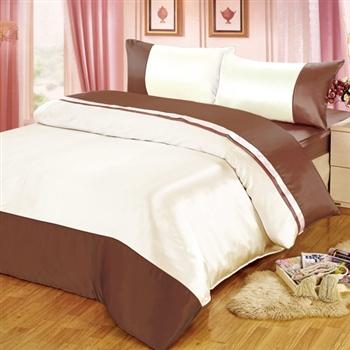 【FOCA】華麗咖啡銀絲緞加大四件式薄被套床包組《送保潔墊》