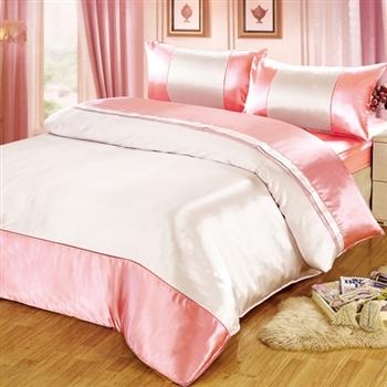 【FOCA】華麗桃粉絲緞雙人四件式薄被套床包組《送保潔墊》