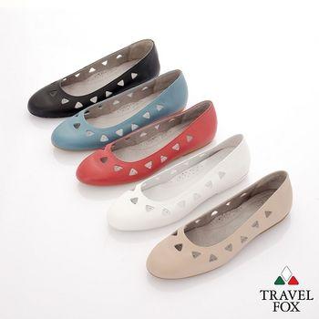 Travel Fox(女) 旅狐鞋 水滴女孩鏤洞淺口平底娃娃鞋