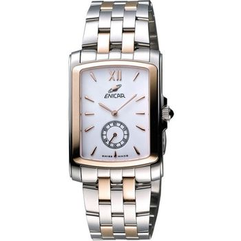 ENICAR 英納格小秒針石英女錶-白x雙色版266-32-25G