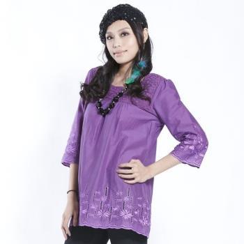 黛莉克絲精緻布蕾絲鏤空100%棉長上衣(紫色)