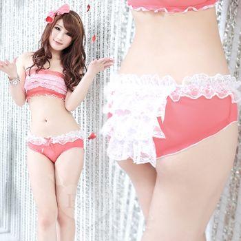 薇珍妮 YST 層層性感蕾絲荷葉邊透明網紗內褲 瓜紅+白