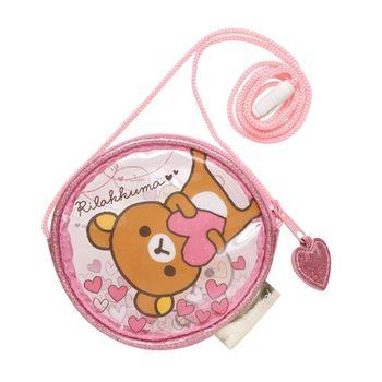 【SAN-X】拉拉熊紅粉愛心系列透明防水長掛繩零錢包