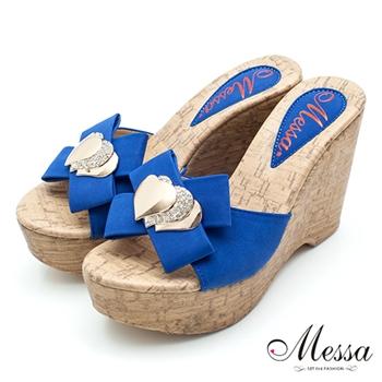 【Messa米莎】(MIT)心心相印鑽飾楔型涼拖鞋-藍色