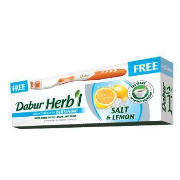 杜拜DABUR檸檬鹽草本亮白牙膏(8入)加送牙刷