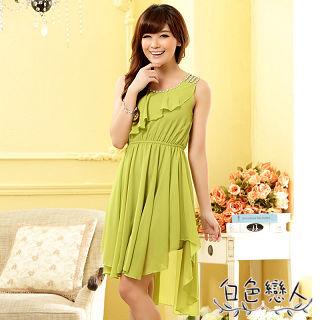 【白色戀人中大尺碼】綠色亮鑽荷葉邊不規則雪紡洋裝JK-0718