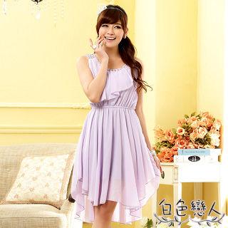 【白色戀人中大尺碼】紫色亮鑽荷葉邊不規則雪紡洋裝JK-0718