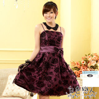 【白色戀人中大尺碼】紫色植絨印花平口肩帶小禮服JK-0816