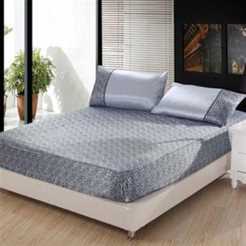 【BELLE VIE】水藍豹紋絲緞雙人三件式枕套+床包組