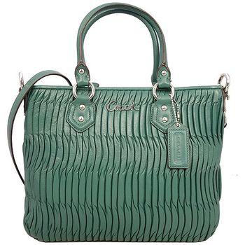 COACH金屬LOGO皺摺全皮革手提/斜背二用包-綠色
