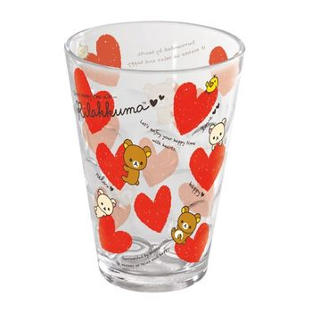 【SAN-X】拉拉熊紅粉愛心系列透明立體塑膠水杯 紅愛心