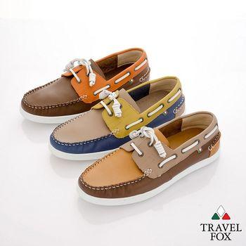 Travel Fox(男) STYLE-風格流行 撞色牛皮帆船鞋