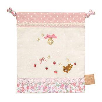 【SAN-X】拉拉熊甜美刺繡系列束口袋 粉紅