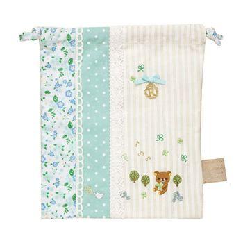 【SAN-X】拉拉熊甜美刺繡系列束口袋 粉藍
