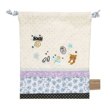 【SAN-X】拉拉熊甜美刺繡系列束口袋 粉紫