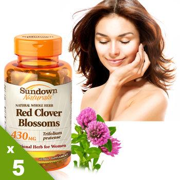 【美國Sundown日落恩賜】高單位頂級紅花苜蓿膠囊x5瓶組(100粒/瓶)