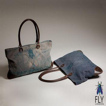 Fly London - BOX 水洗帆布牛皮拼貼大肩包