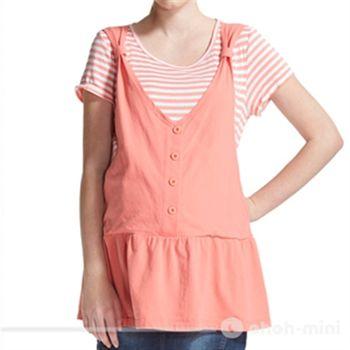【ohoh-mini孕婦裝】清新亮麗假兩件條紋長版哺乳衣