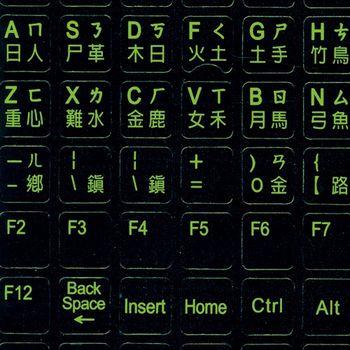 fujiei 黑色底螢光字中英文電腦鍵盤貼紙