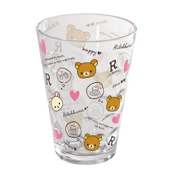 【SAN-X】拉拉熊 紅粉愛心系列透明立體塑膠水杯 紅(粉紅愛心)