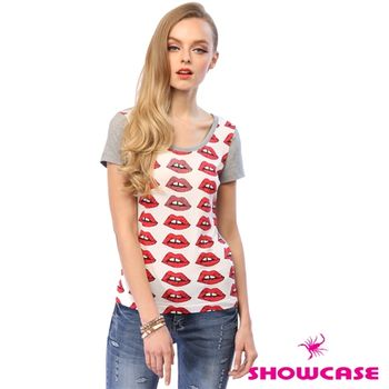 SHOWCASE 滿版紅嘴唇水鑽拼接棉質短袖上衣-141780