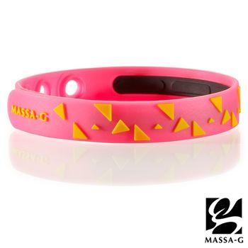 MASSA-G【Rhythm韻律-螢光桃】鍺鈦能量舒壓手環
