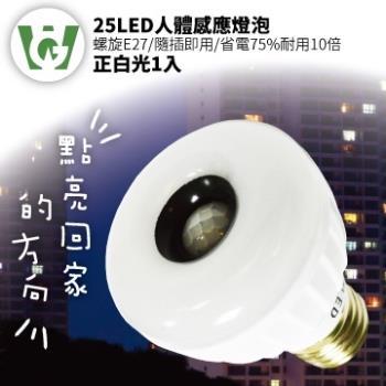 25LED感應燈泡(標準螺旋E27型)(正白光)