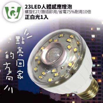 23LED感應燈泡(標準螺旋E27型)(正白光)