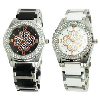 TIME WHEEL 璀璨晶鑽幸運草陶瓷錶